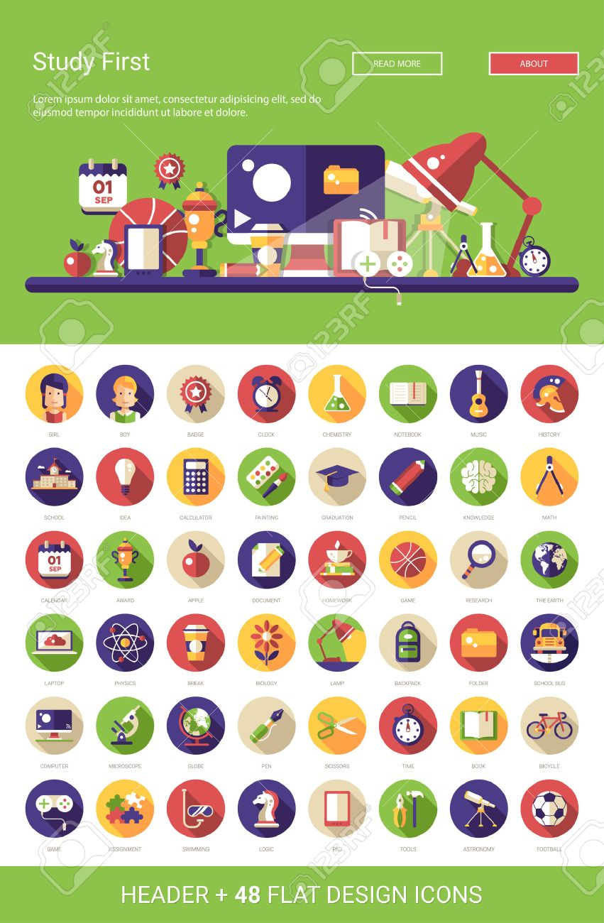 Header with vector modern flat design school, college icons and infographics elements set for your website illustration - 46675212
