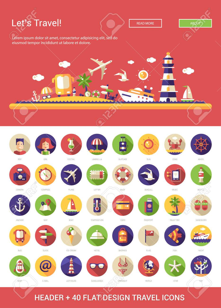 Header with vector modern flat design travel, vacation, tourism icons and infographics elements set for your website illustration Stock Vector - 46675215