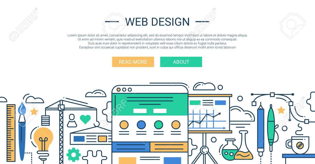 Illustration of vector modern web design line flat design composition