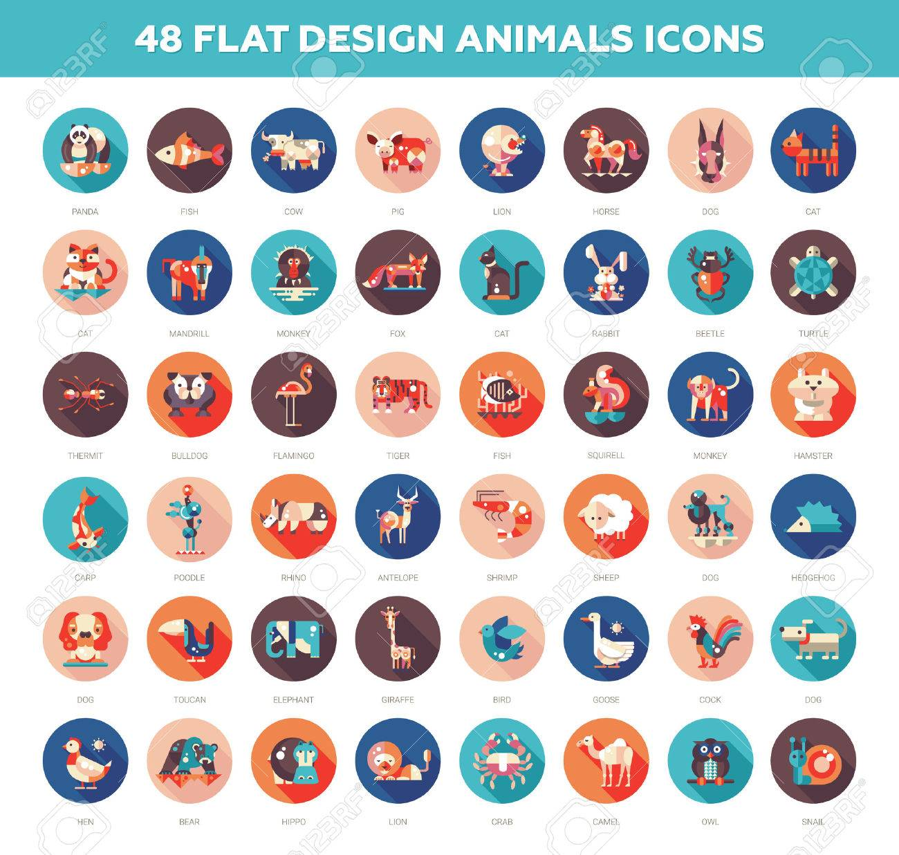 Set of 48 modern vector flat design wild and domestic animals icons set Stock Vector - 50333138