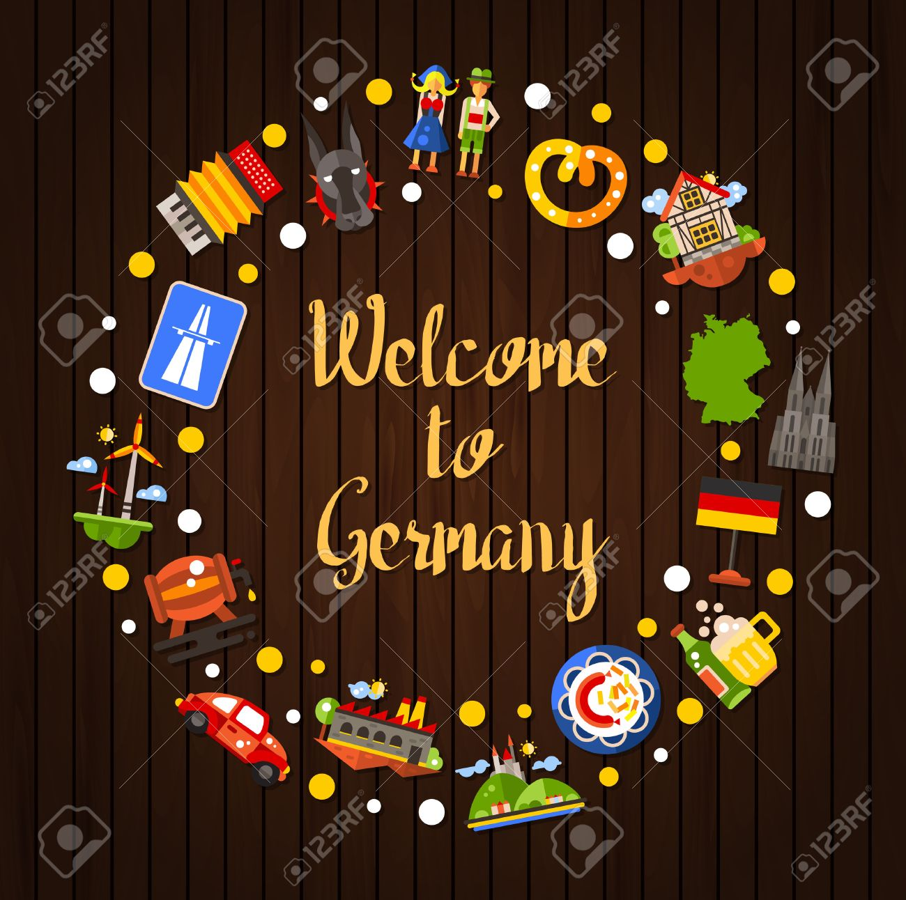 Welcome to Germany - vector flat design Germany travel circle postcard template with icons and infographics elements of famous German symbols - 51636040