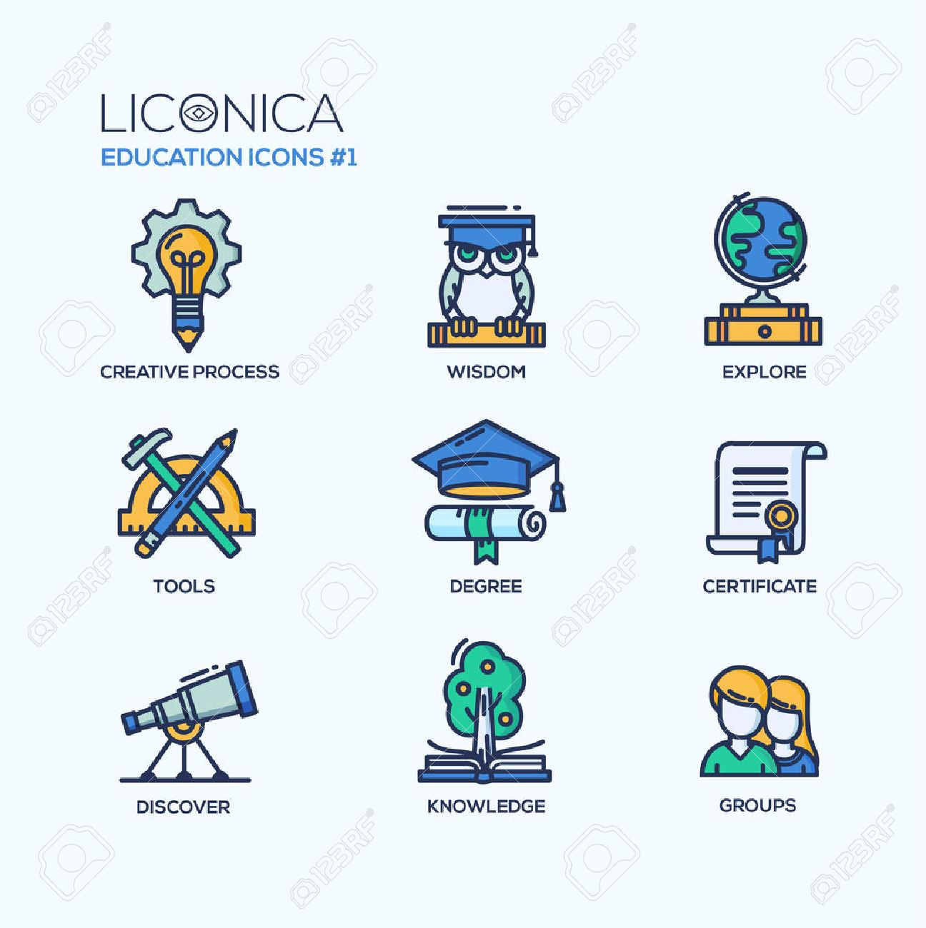 Set of modern vector education thin line flat design icons and pictograms. Collection of education infographics objects and web elements. Creative process, wisdom, explore, tools, degree, certificate, discover, knowledge, groups. - 51636047