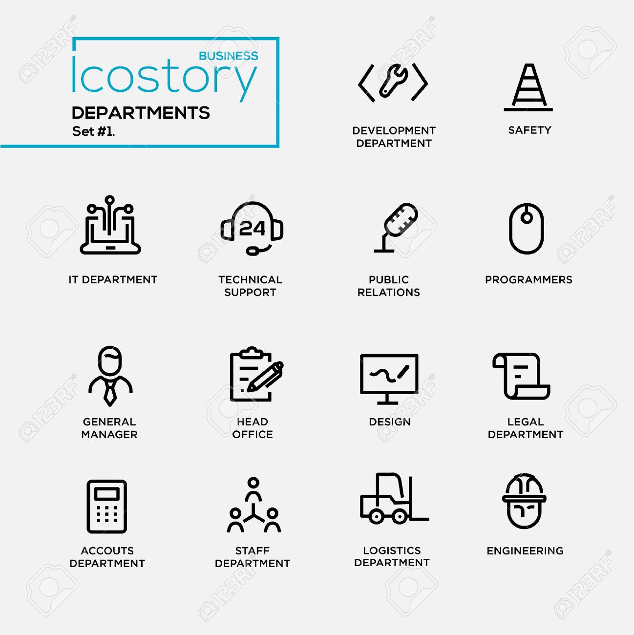 Set of modern vector office departments thin line flat design icons and pictograms. - 53688096