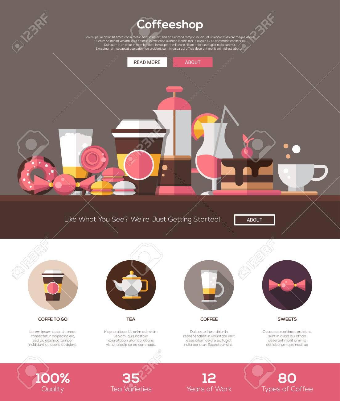 Cafetería, Café Panadería Diseño De Plantilla De Página Web Con ...
