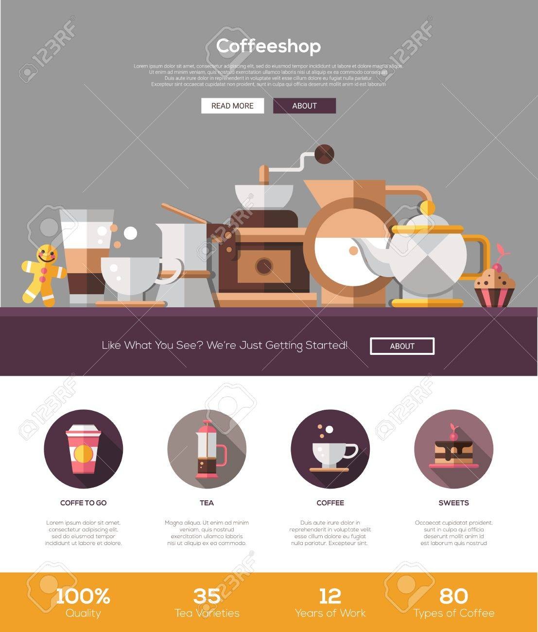 Coffee Shop, Cafe Bakery One Page Website Template Layout With ...