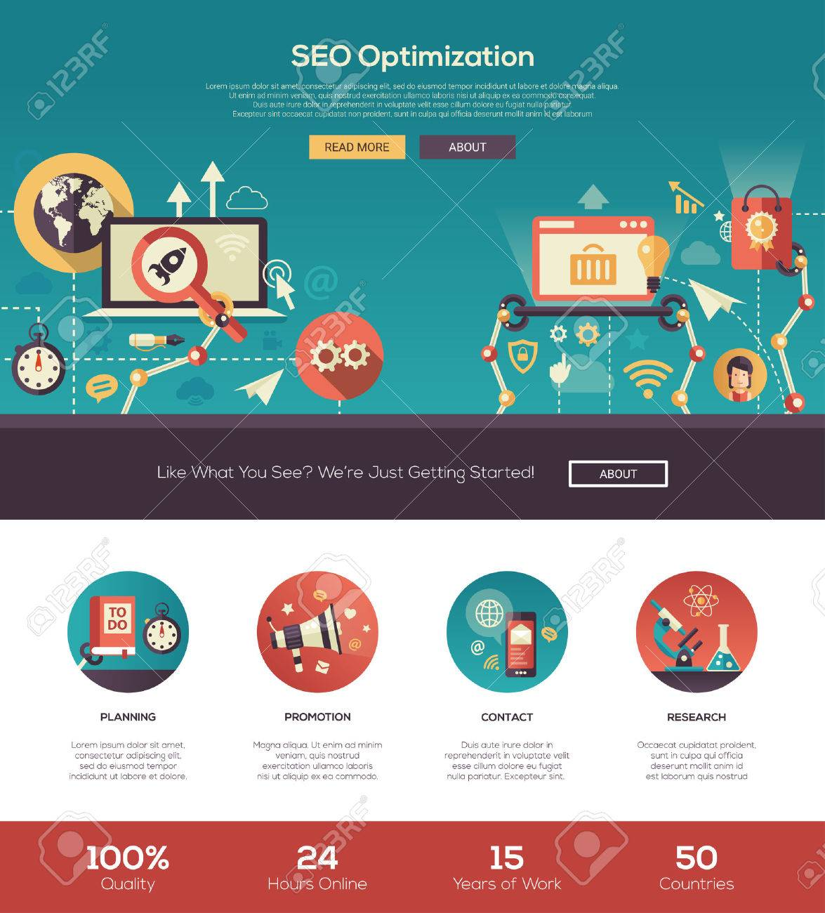 SEO Optimization One Page Website Template Layout With Thin Line ...
