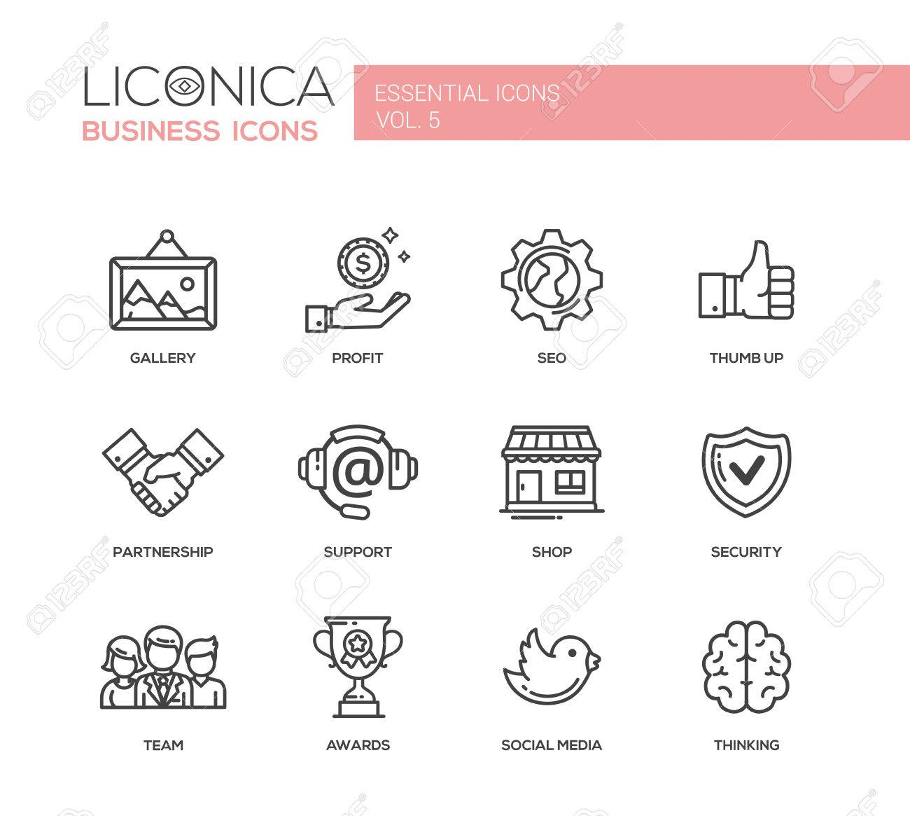 Set of modern vector office plain simple thin line flat design icons and pictograms. - 53843576