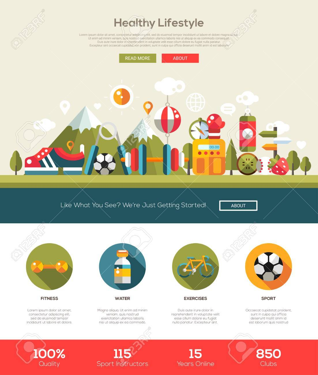 Healthy Lifestyle Website Template With Modern Flat Design ...