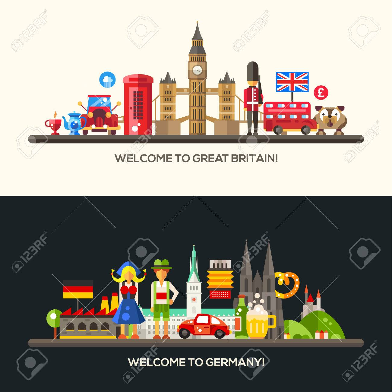 Set Of Vector Flat Design Great Britain And Germany Travel Banners