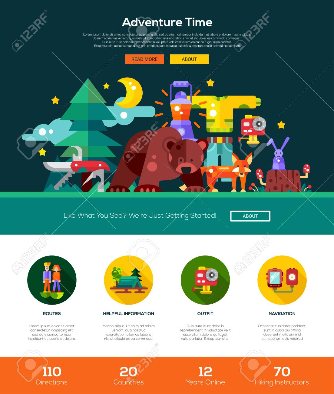 Camping And Hiking Web Site One Page Website Template Layout With Thin Line Design Header