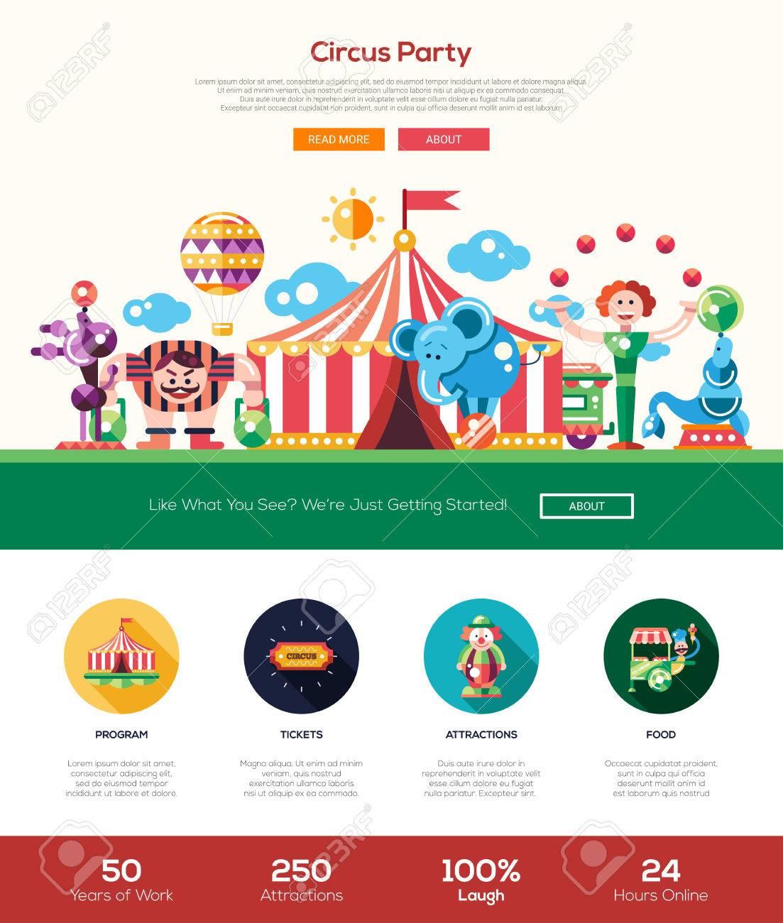 Zirkus Und Karneval-Party-Website Eine Seite Website-Vorlage-Layout ...