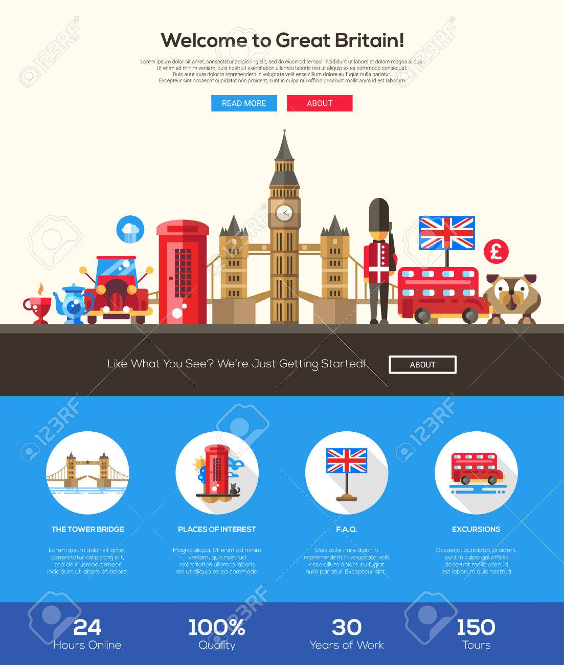 Welcome to Great Britain travel web site one page website template layout with flat design header, banner, icons and other flat design web elements, famous British symbols - 54789223