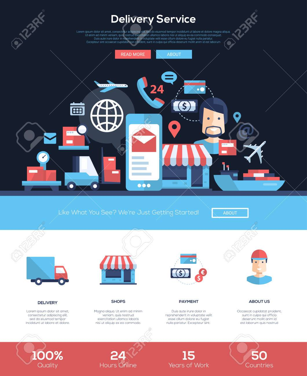 Fast Delivery Services Web Site One Page Website Template Layout ...