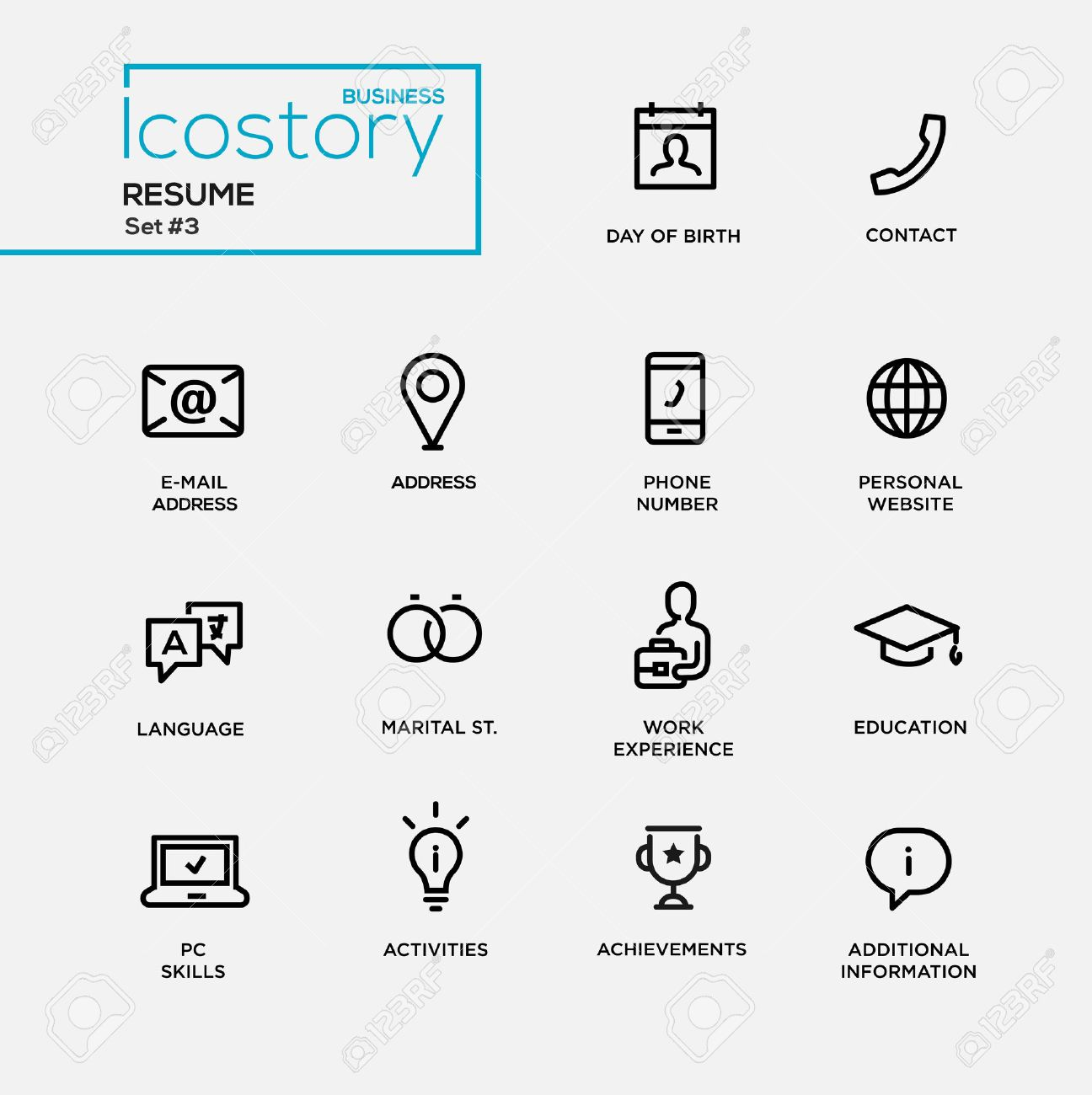 Set Of Modern Vector Plain Simple Thin Line Design Icons And Pictograms For  Your Resume.  Resume Additional Information