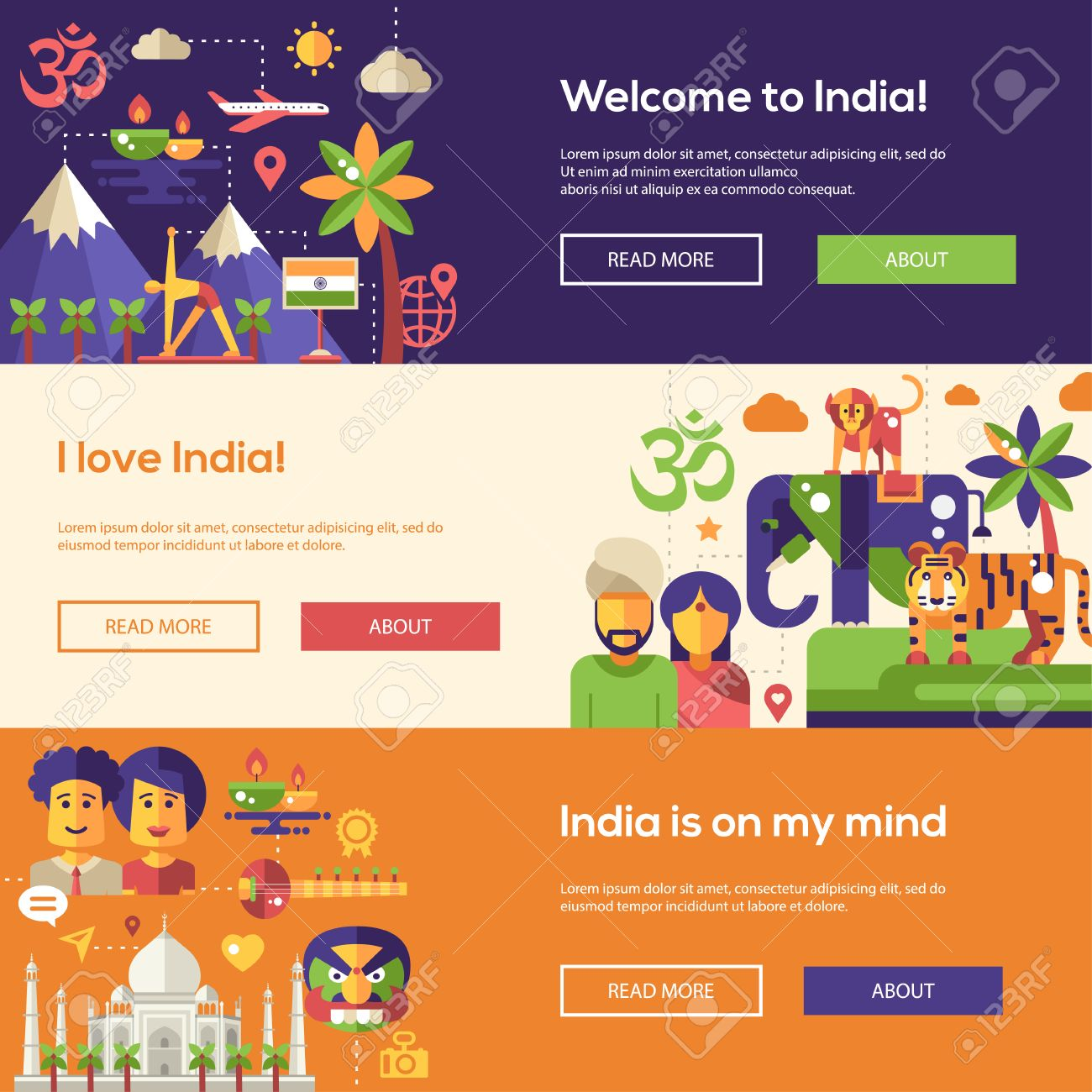 Good Indian Website #6: Welcome To India Travel Website Flat Design Headers, Banners Set With  Famous Indian Symbols Stock