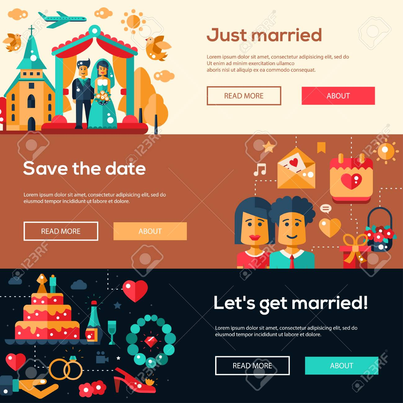 Save The Date Wedding Services Website Flat Design Headers, Banners ...