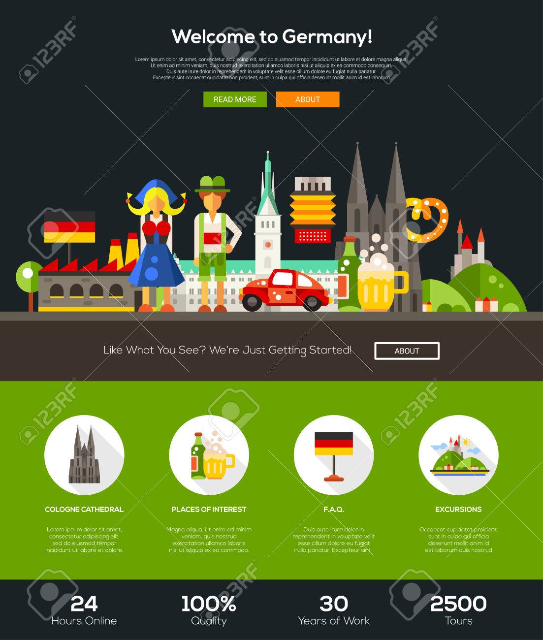 vector welcome to germany travel web site one page website template layout with flat design header banner icons and other flat design web elements - One Page Website Template Free
