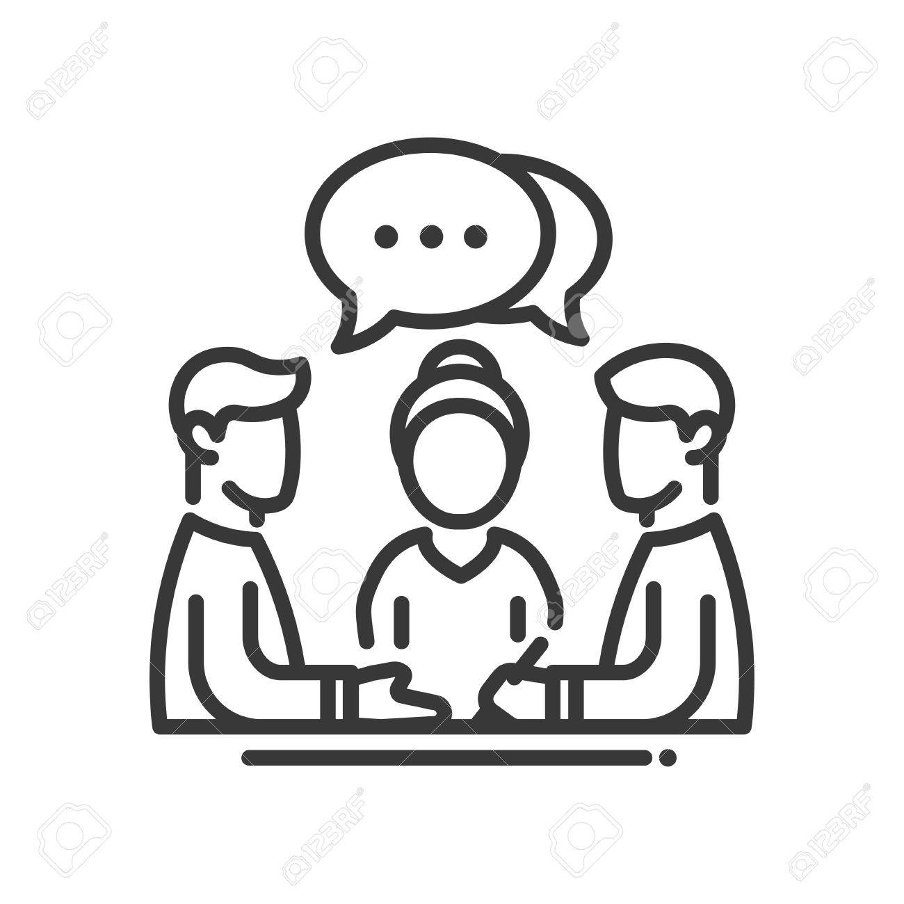 Business meeting single isolated modern vector line design icon. Group of people with a speech bubble with dots sign - 56647531