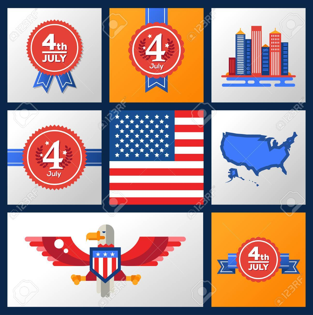 Modern Vector Usa Independence Day Badges Set With Famous American
