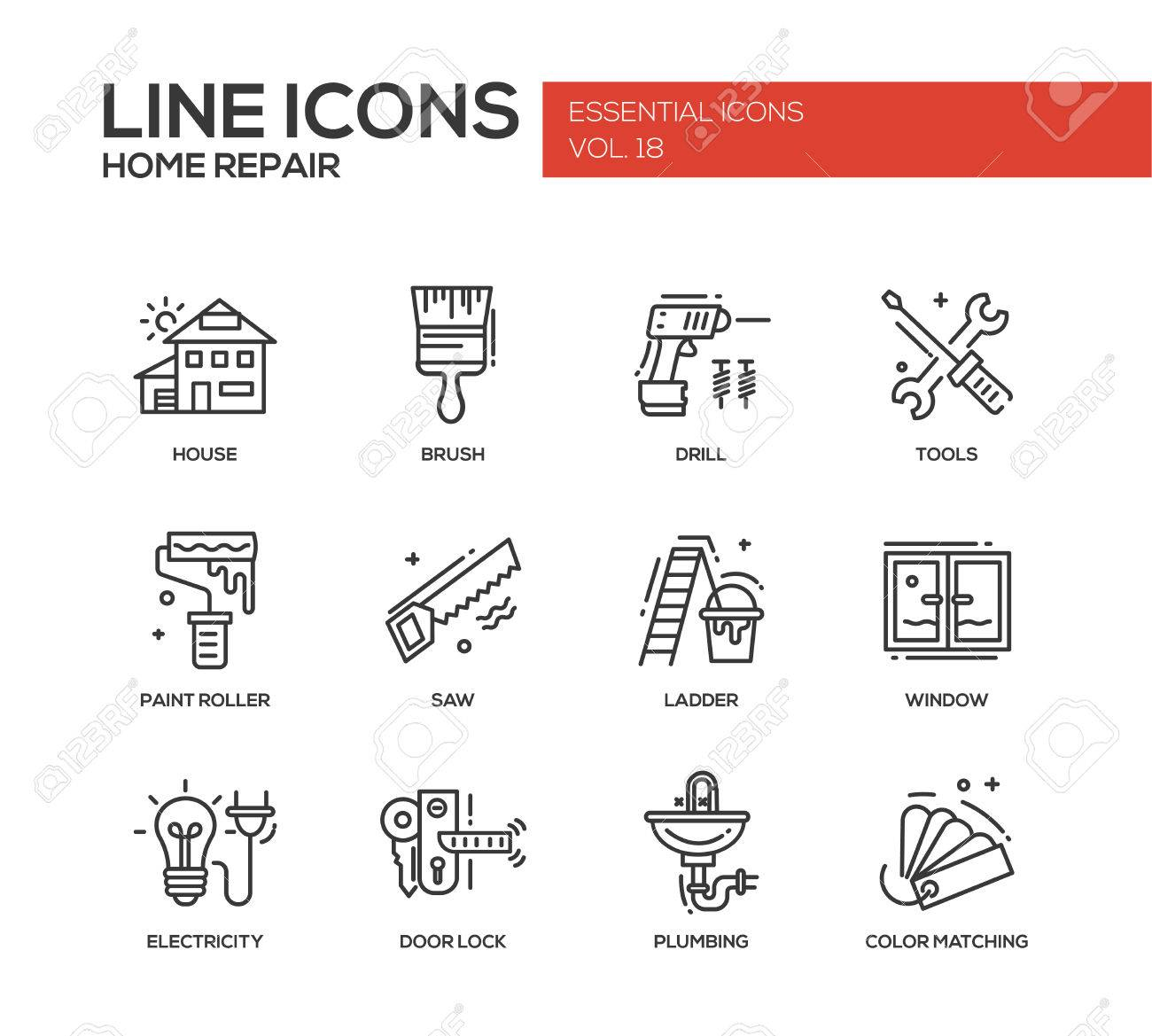 Set Of Modern Vector Line Design Icons And Pictograms Of Home ...