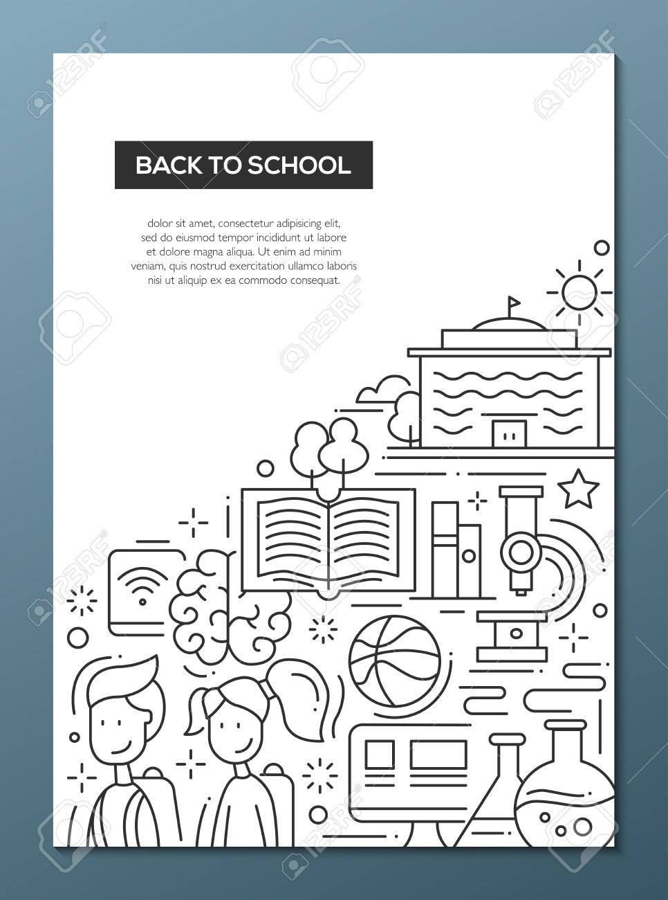 back to school education simple line design poster template