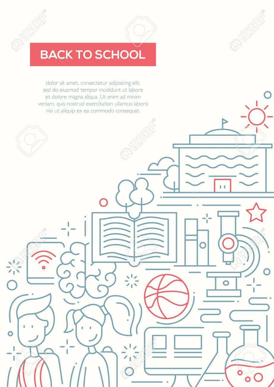 Back To School - Bildung Einfache Linie Design Poster-Vorlage Mit ...
