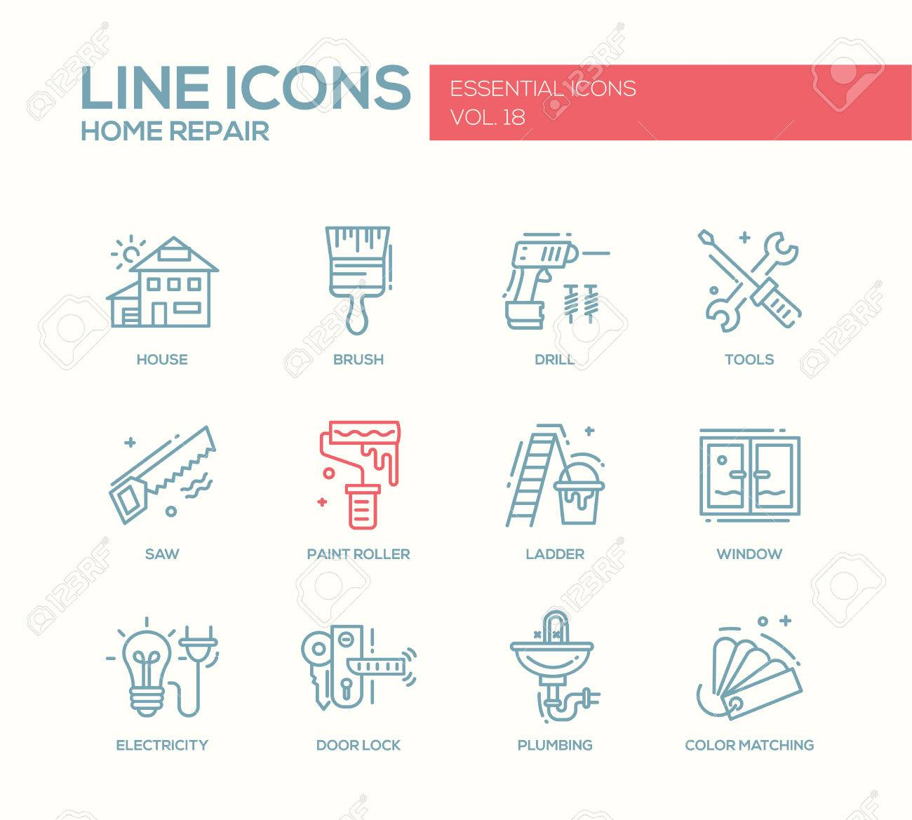 Set of modern vector line design icons and pictograms of home set of modern vector line design icons and pictograms of home repair process and tools ccuart Choice Image