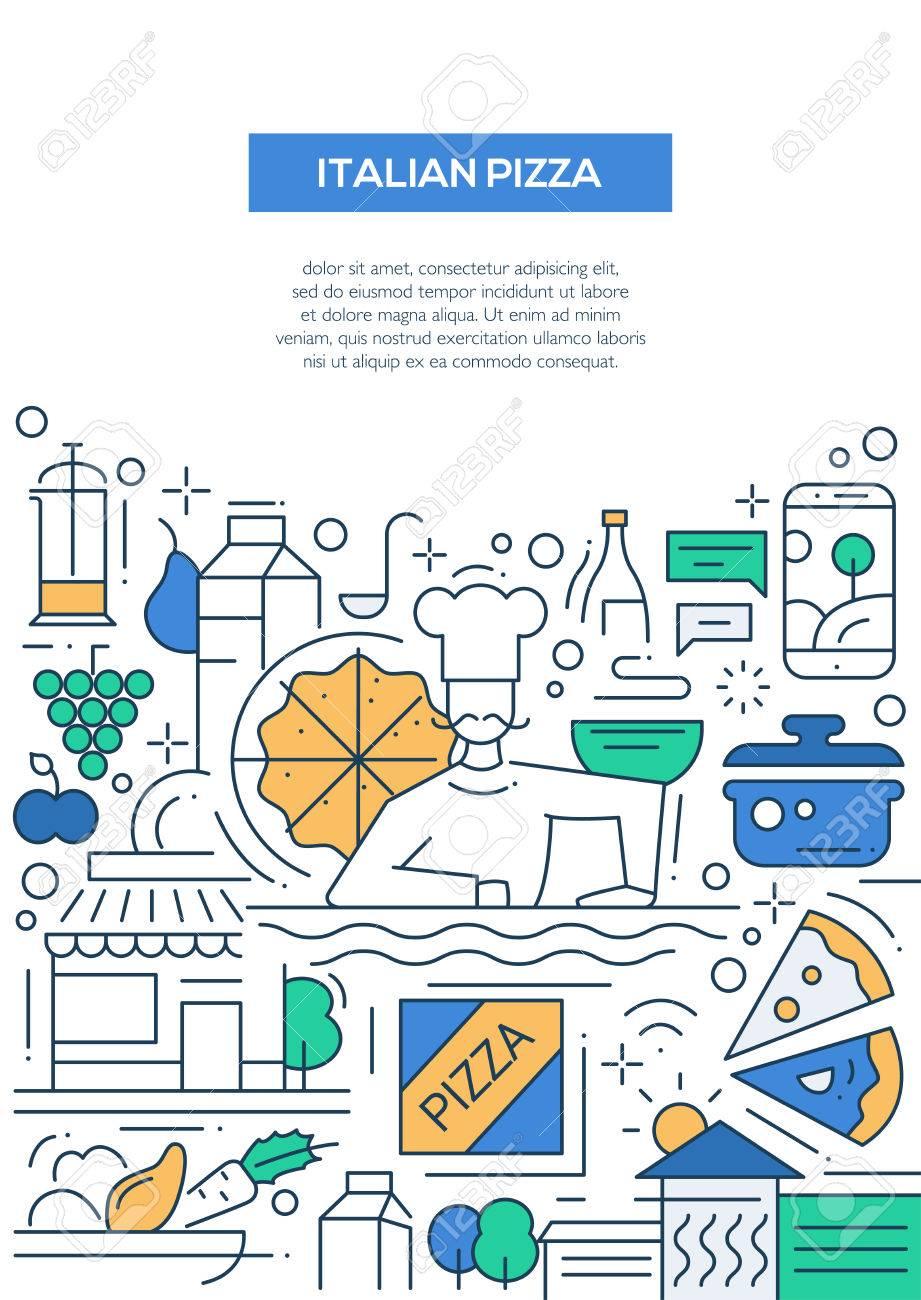 Italienische Pizza - Vektorlinie Design Broschüre Poster, Flyer ...