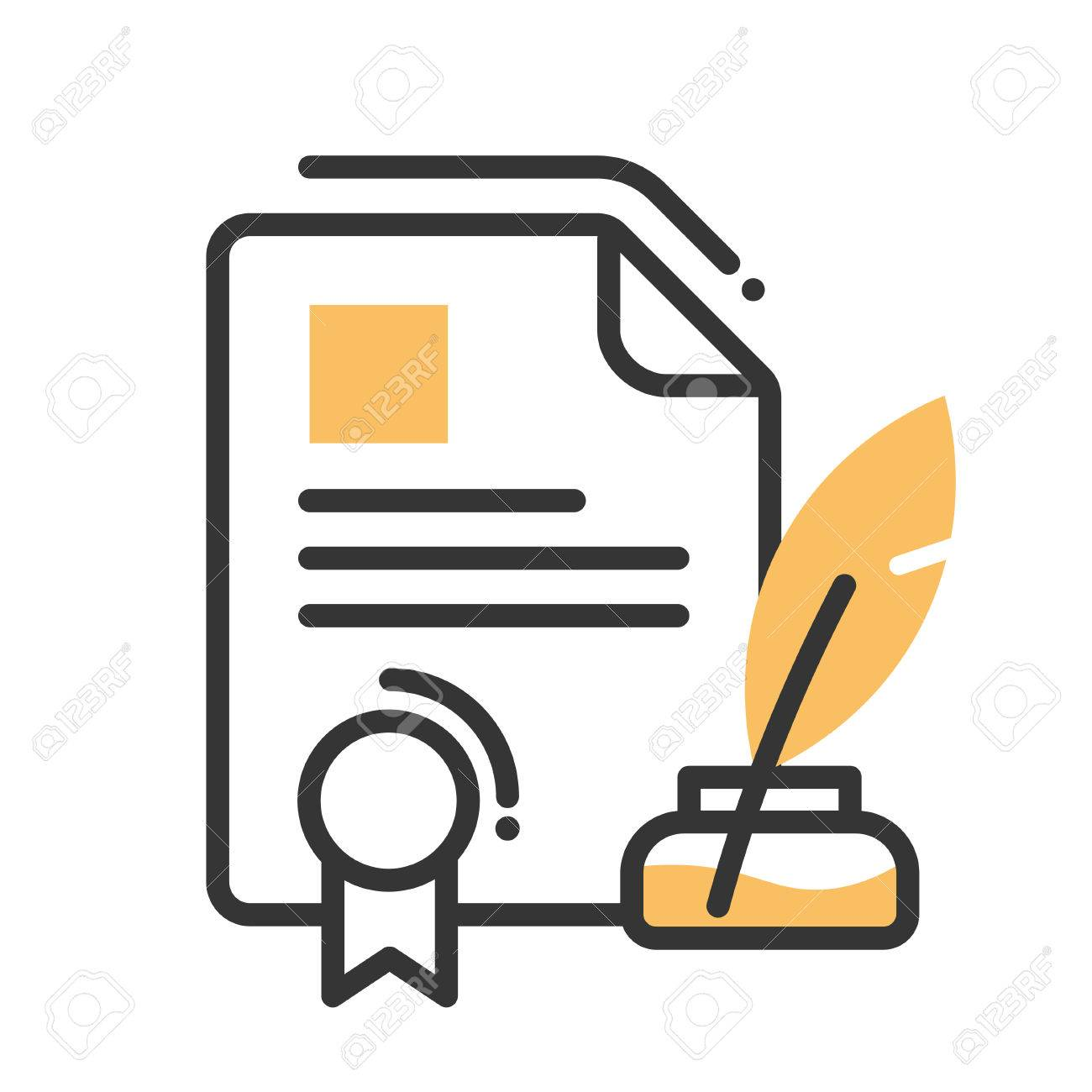 Legal document single isolated modern vector line design icon