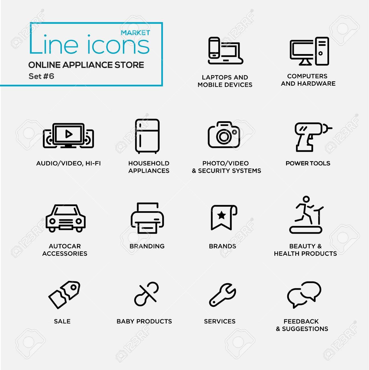 Moderne Online-Gerät zu speichern einfache dünne Linie Design-Ikonen,  Online-Shop Piktogramme. Computer, Bürobedarf, Haushalt, Sicherheit, ...