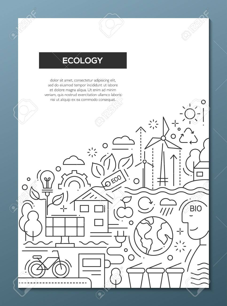 ecology vector line design brochure poster flyer presentation template a4 size layout
