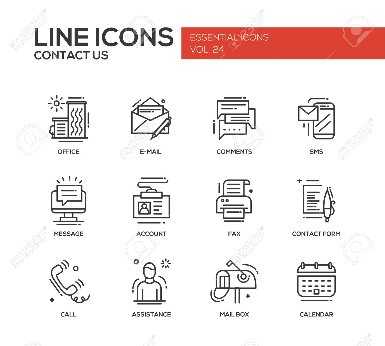 Contact Us Modern Vector Plain Line Design Icons And Pictograms