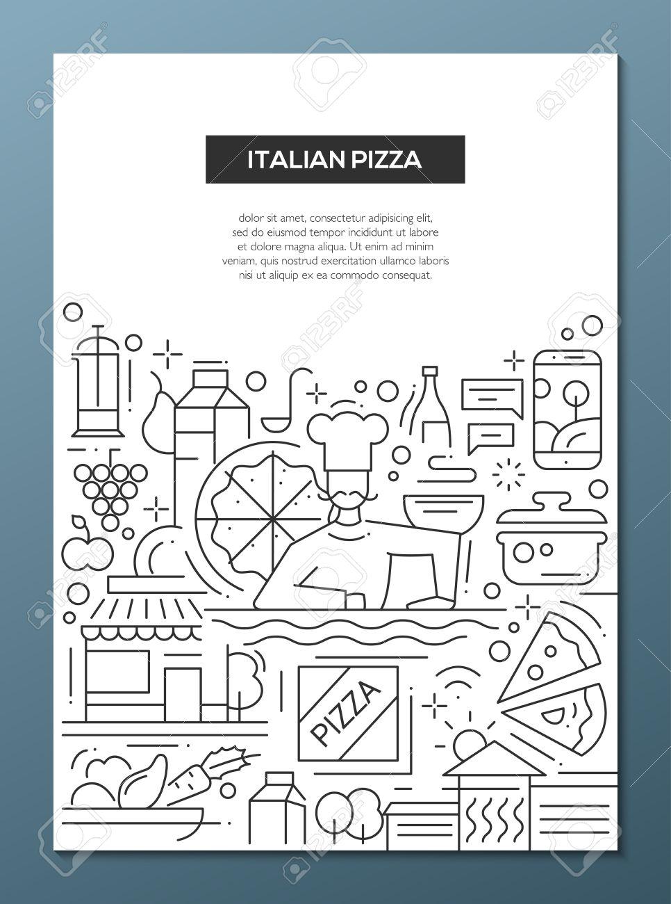 Pizza Italiana - Linea Vettoriale Manifesto Design Brochure, Flyer ...