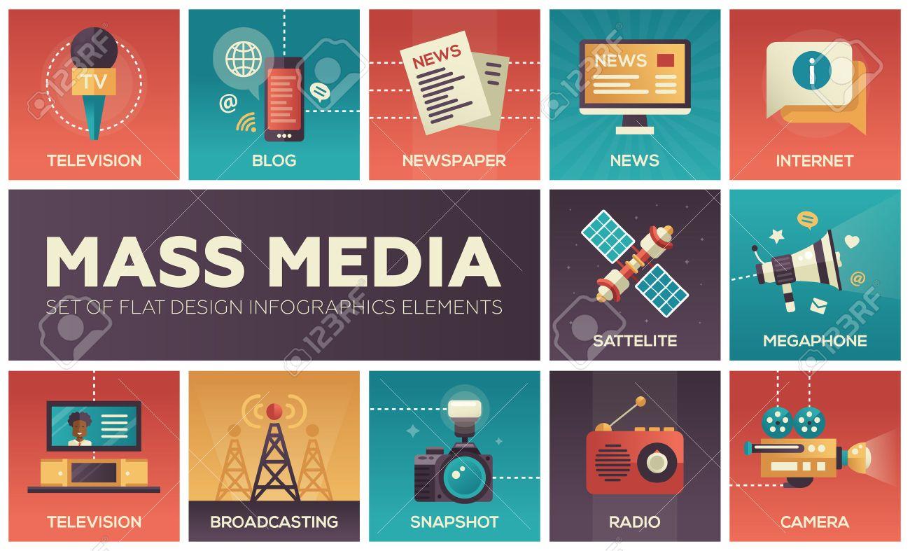 Set of modern vector flat design mass media icons and mass media pictograms. Tv, newspaper, blog, internet, radio satellite, megaphone, broadcasting, camera, snapshot - 60186243