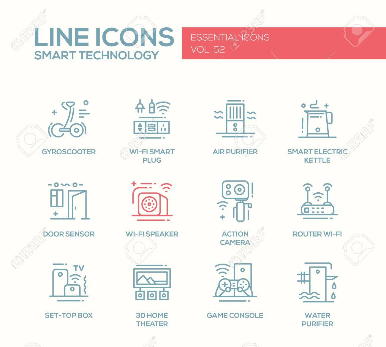 Tecnología Inteligente - Vector Moderno De La Línea De Iconos Del ...