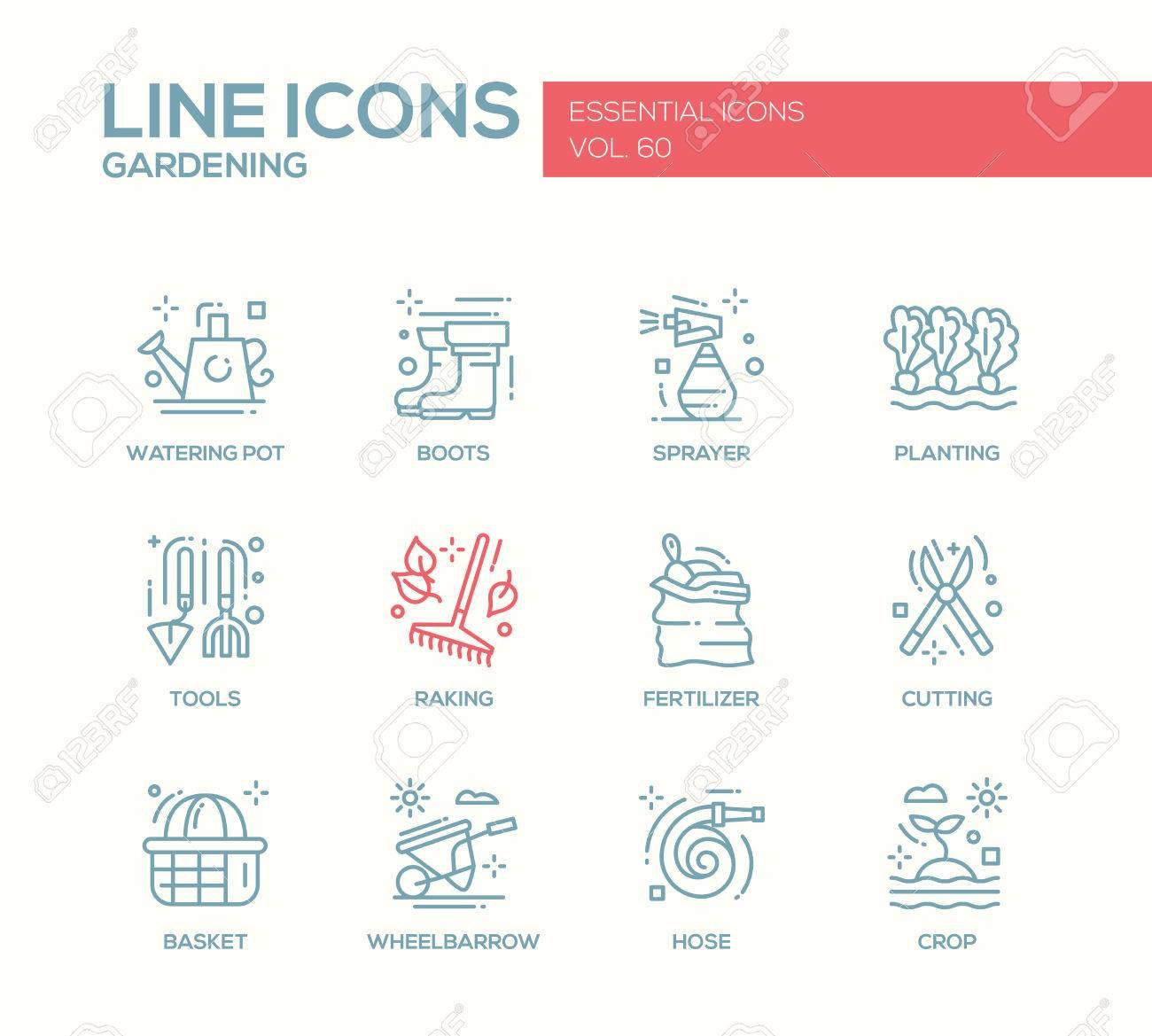 Jardinage - Vecteur Moderne Ligne Simple Icônes Du Design Et Des ...