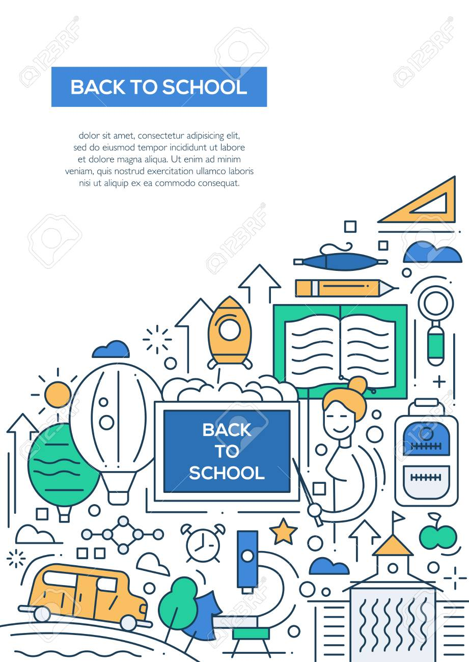 back to school vector line design brochure poster flyer