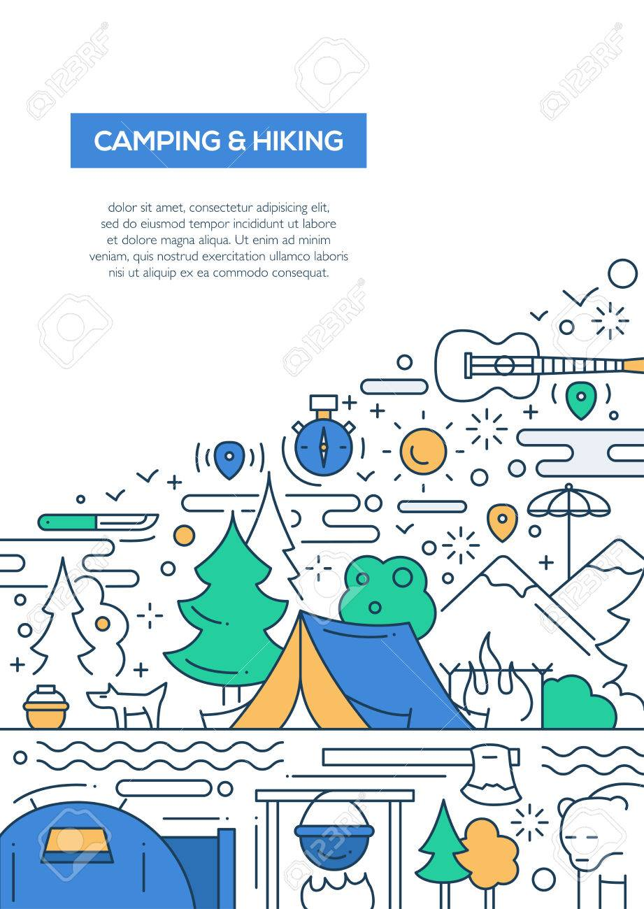 Caping And Hiking - Vector Line Design Brochure Poster, Flyer ...