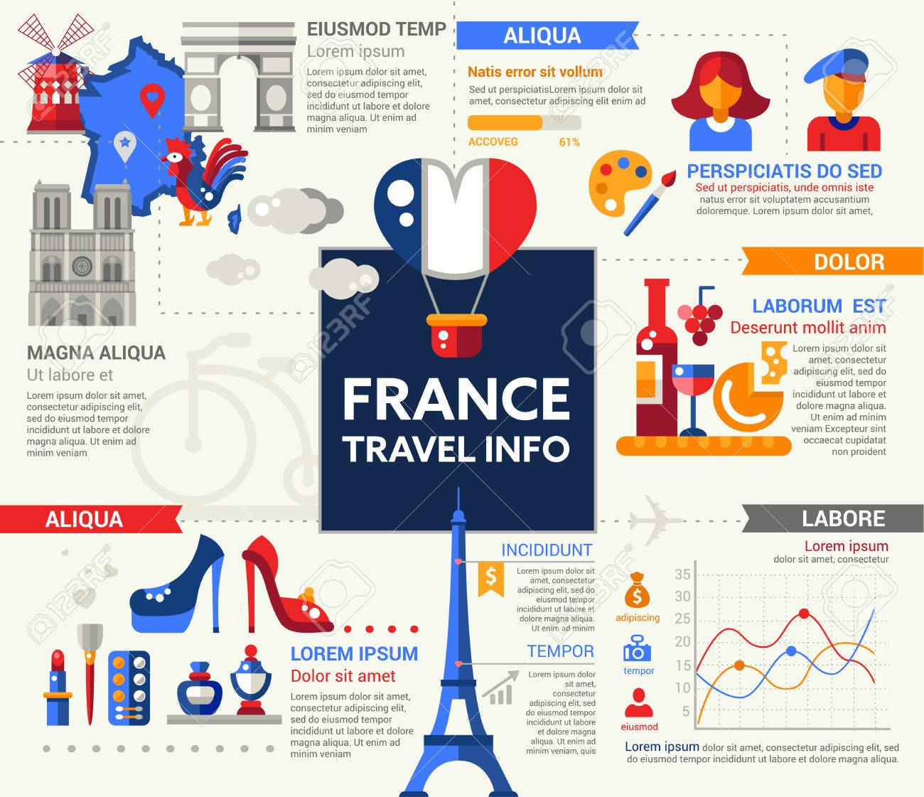 travel to france info poster brochure cover template layout with flat design icons of