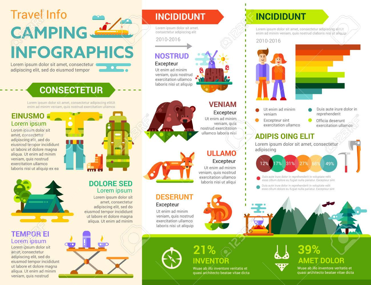 Camping Infografics - Info-Poster, Broschüre Cover Vorlage Layout ...