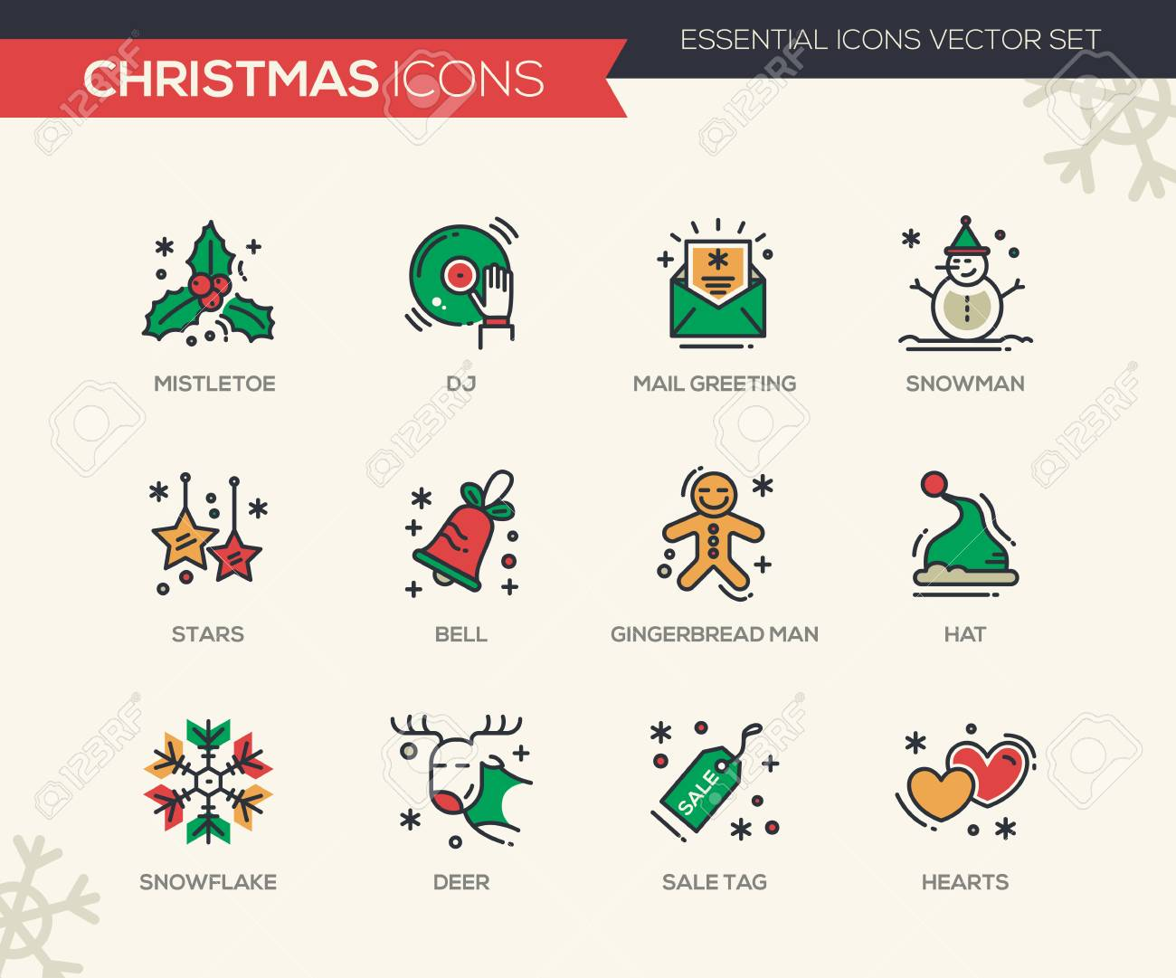 Christmas and new year set of modern vector line design icons christmas and new year set of modern vector line design icons and pictograms mistletoe m4hsunfo