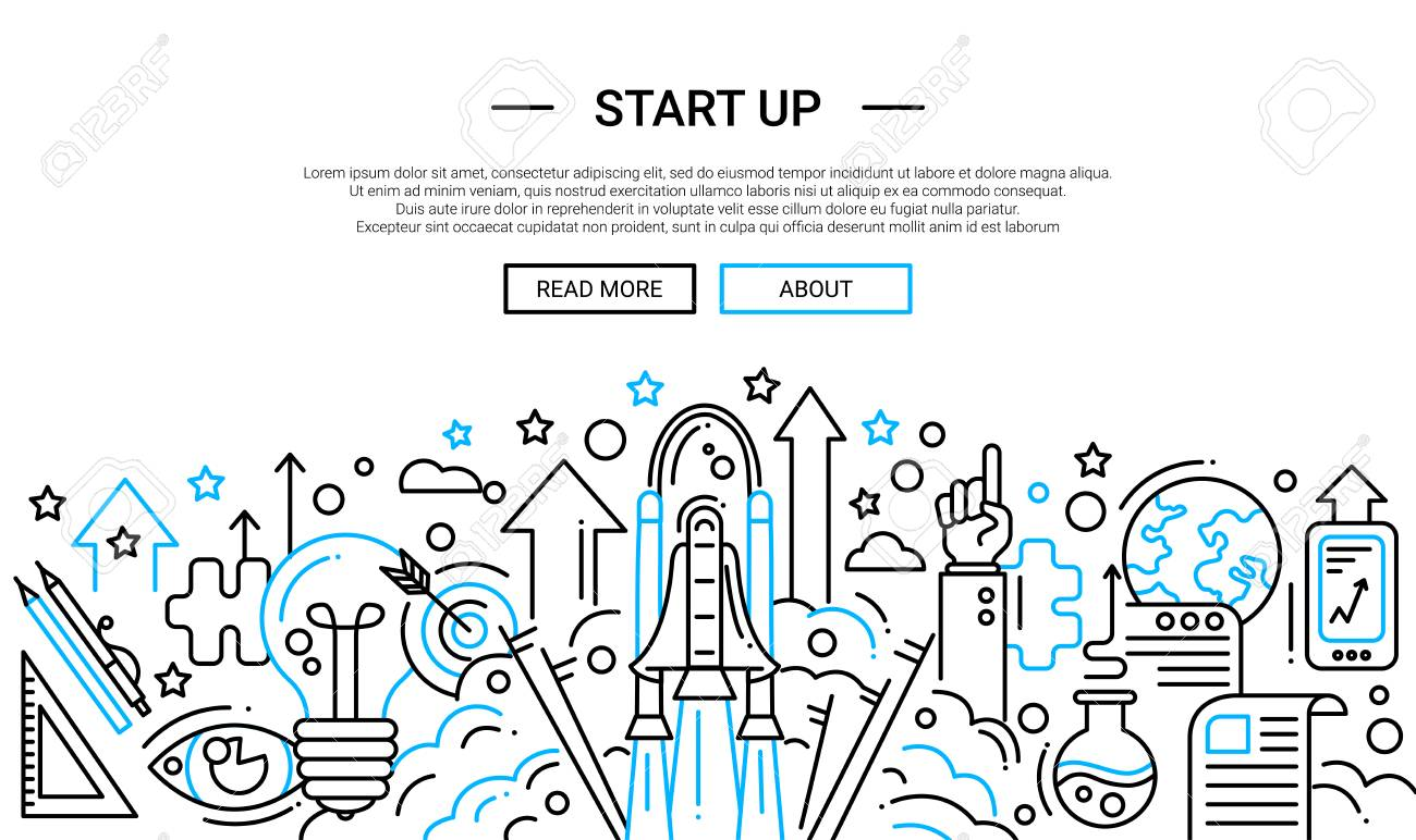 Start up - illustration of vector modern plain line design composition and infographics elements with a shuttle launch scene. Header, banner for your site. - 66760016