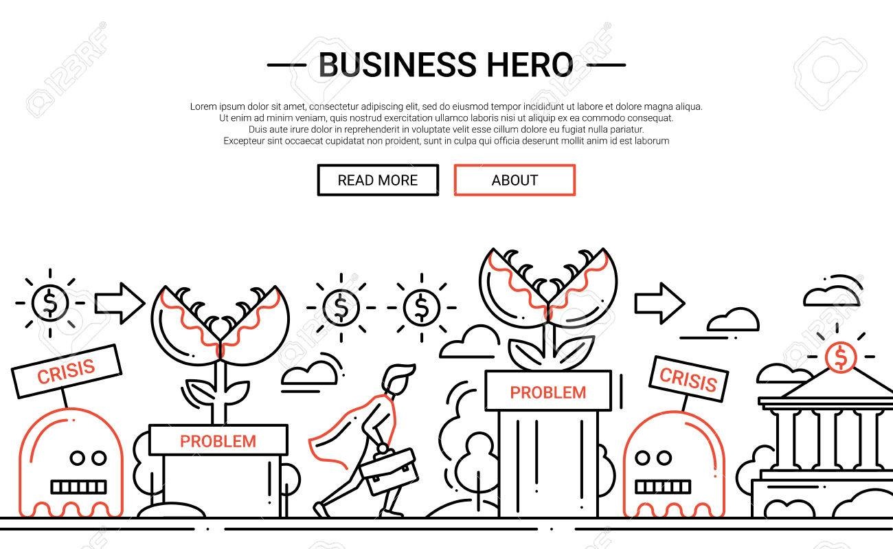 Business Hero - illustration of vector modern simple line design composition and infographics elements with a businessman overcoming obstacles. Header, banner for your site. - 66760306