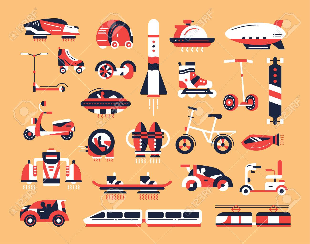 Means of transport - set of modern vector flat design icons and pictograms. Road, air, futuristic, etro, rocket, train, vehicle, electric car, skateboard, hoverboard scooter bicycle airship - 66760597