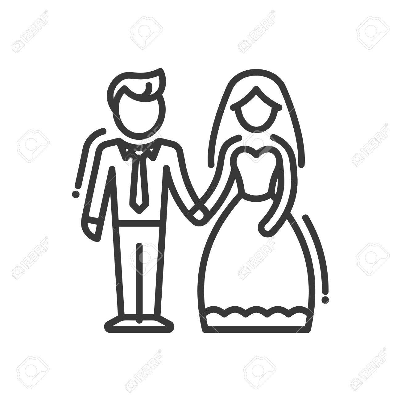 60647b74c9 Foto de archivo - Pareja recién casada - vector línea diseño único icono  aislado