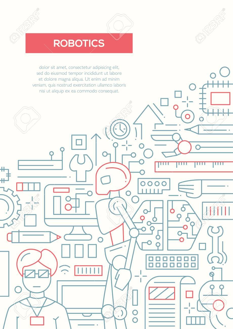 Robotics Vector Plain Line Design Brochure Poster Flyer