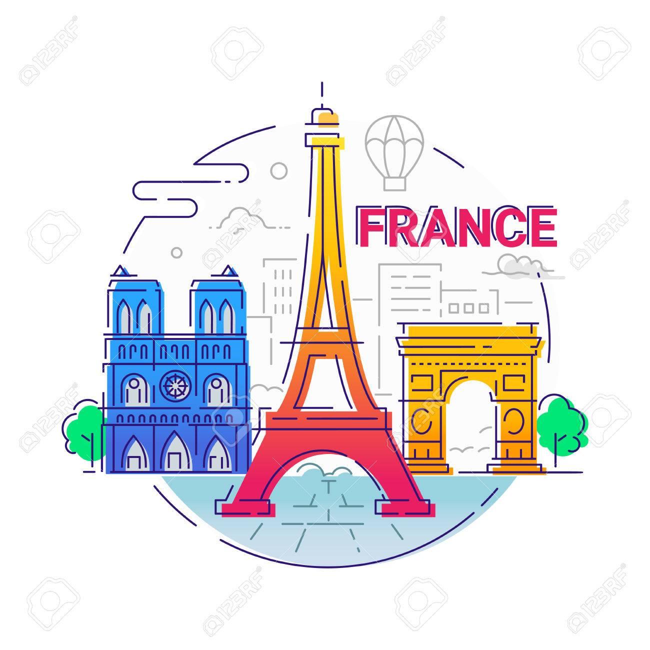 フランス - 現代ベクトル ライン旅行イラスト ロイヤリティフリー