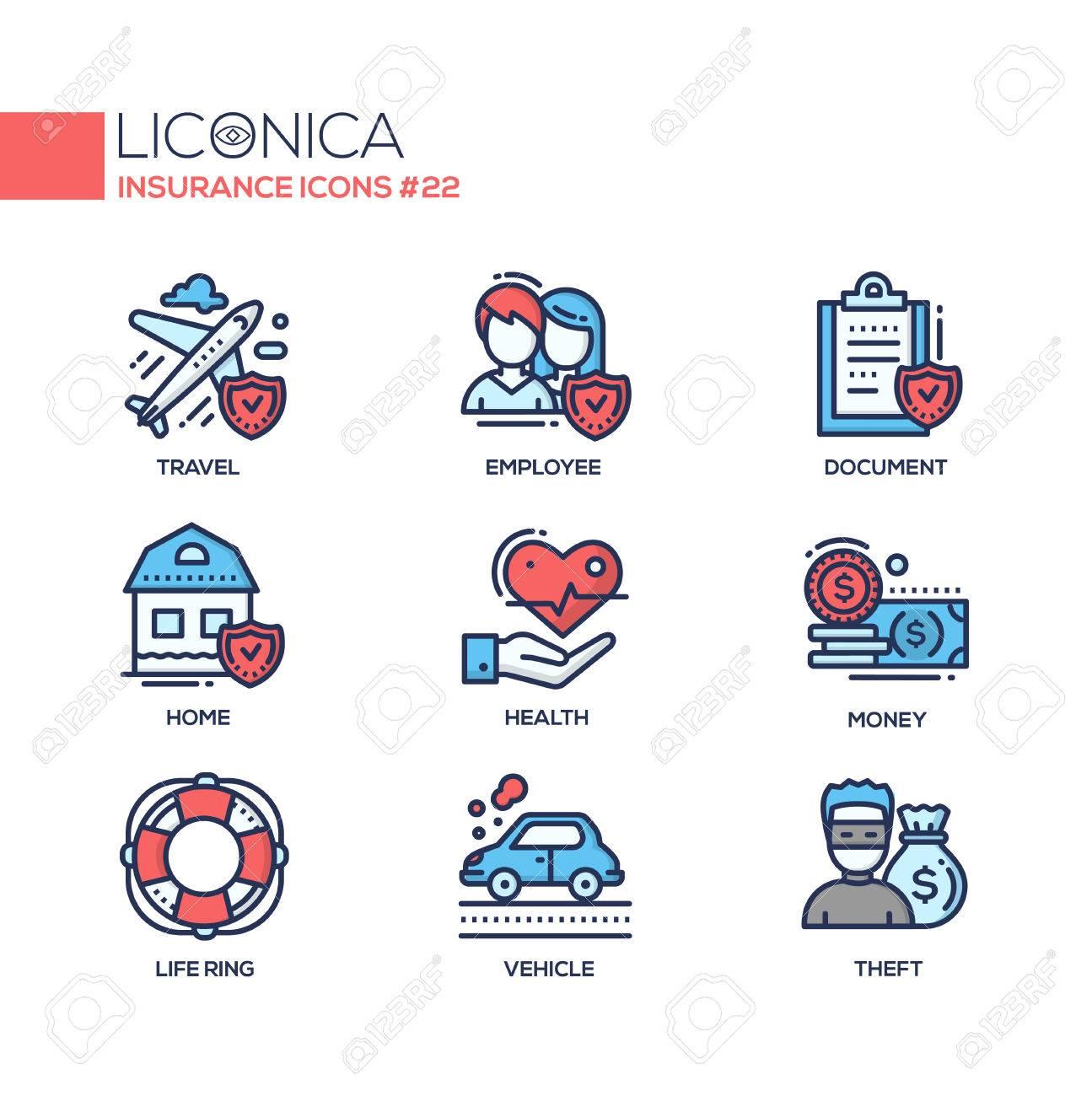 Insurance - coloured modern single line icons set - 74390302