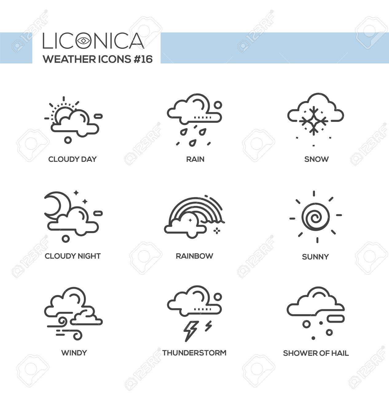 weather black and white vector modern single line icons set