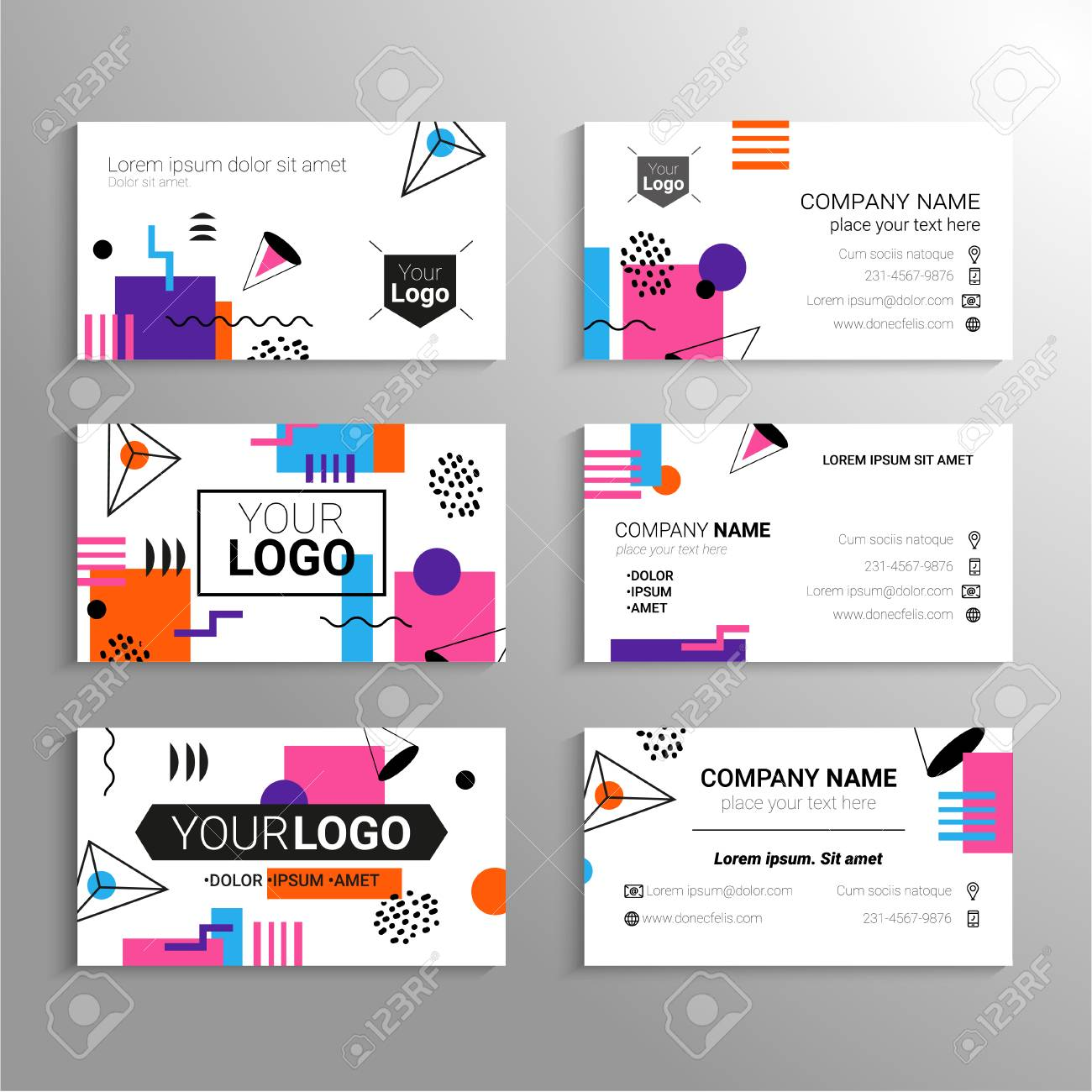 Business cards vector template with abstract flat design business cards vector template with abstract flat design background represent yourself or your company solutioingenieria Choice Image